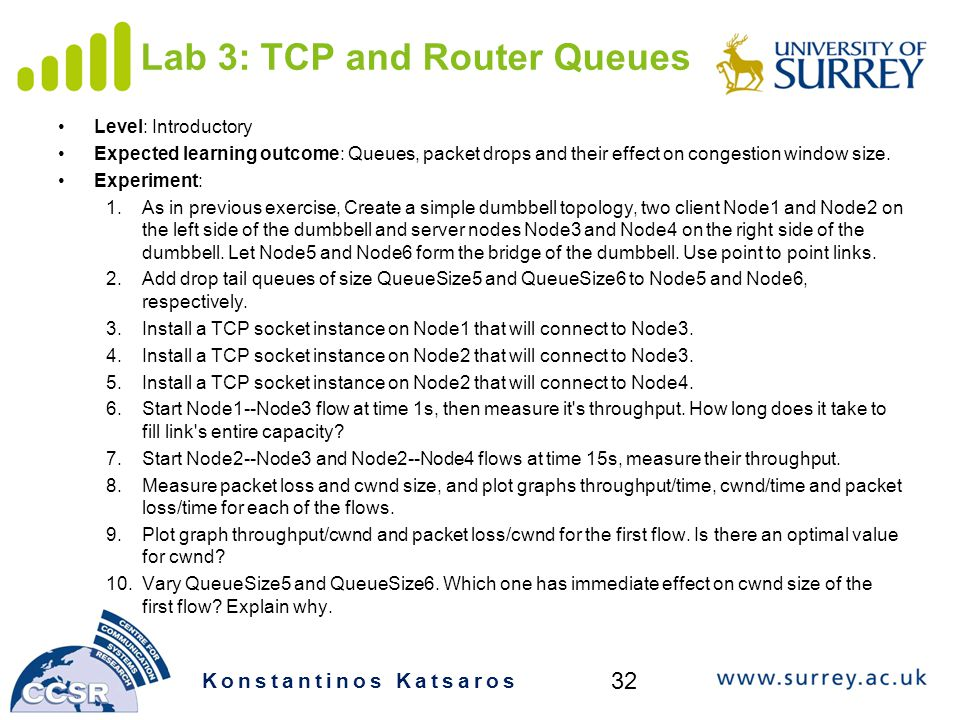 Lab 3: TCP and Router Queues