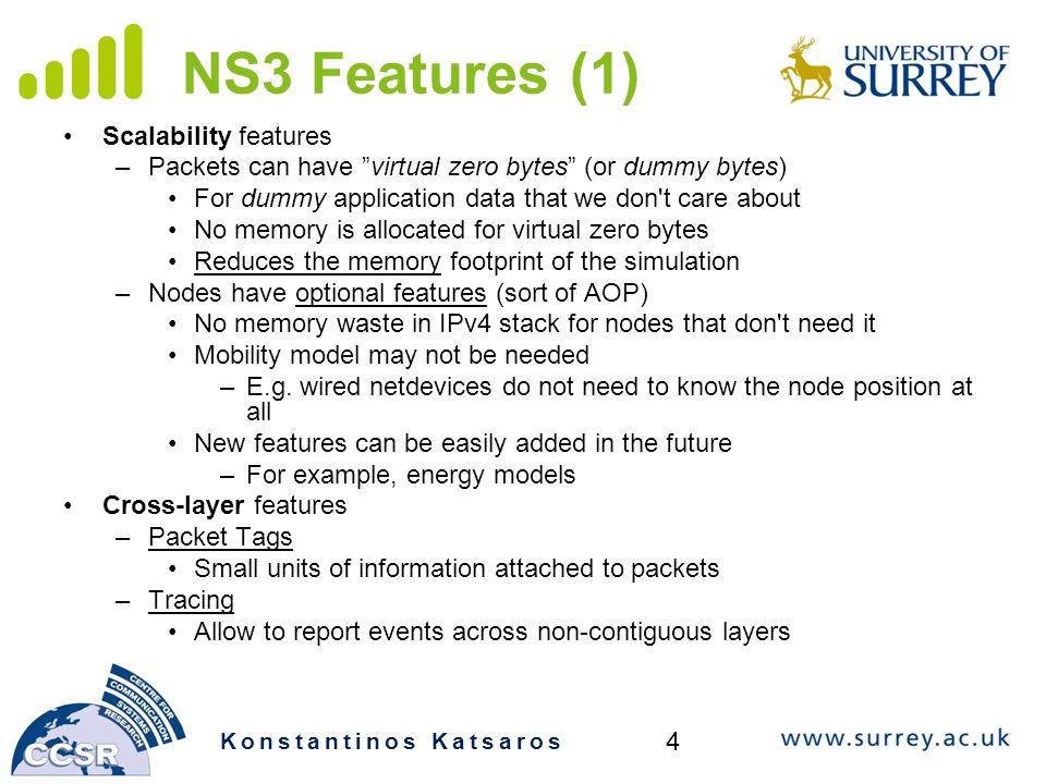 NS3 Features (1) Scalability features
