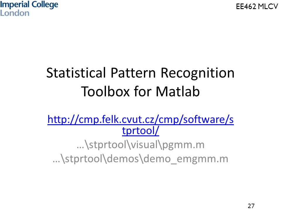 Statistical Pattern Recognition Toolbox for Matlab