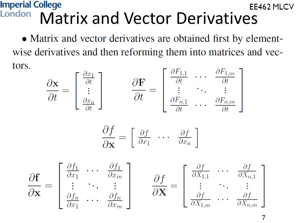 Matrix and Vector Derivatives