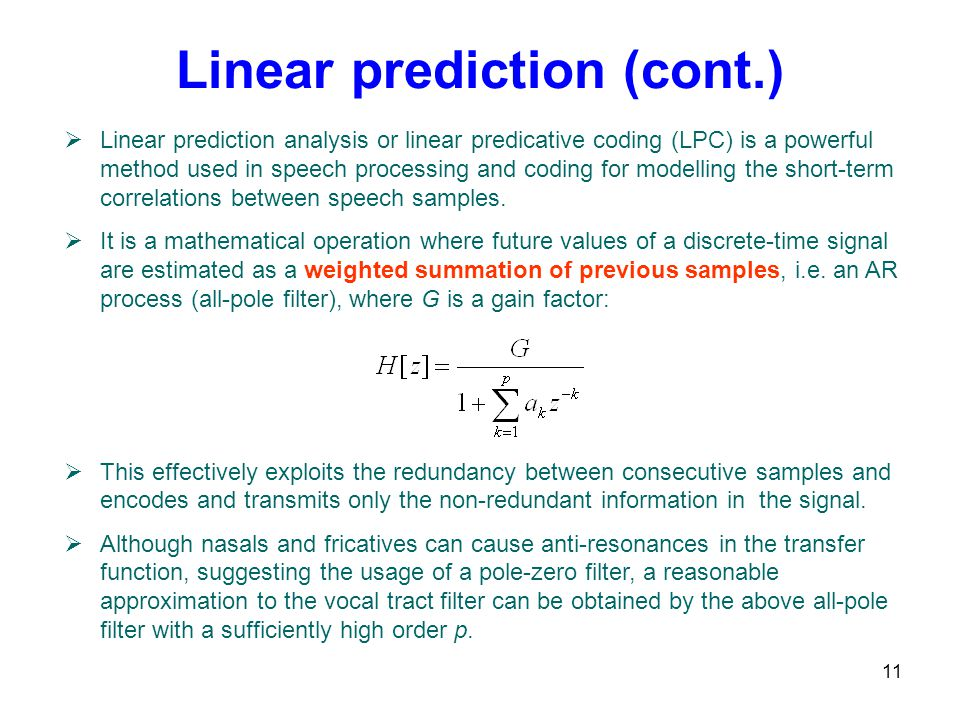 Linear prediction (cont.)