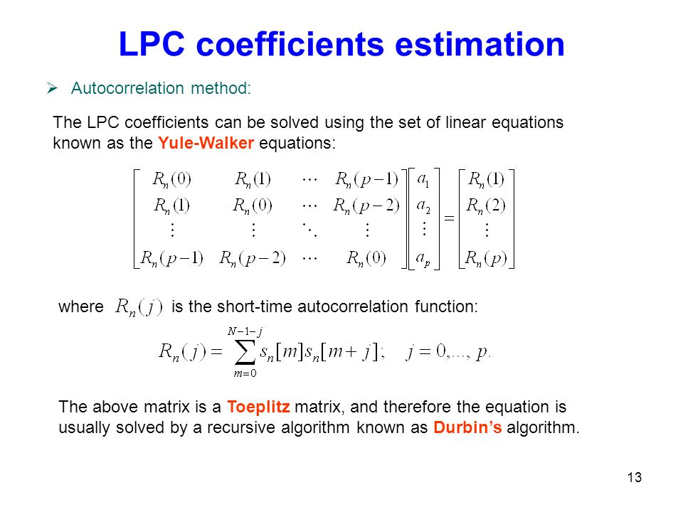 LPC coefficients estimation