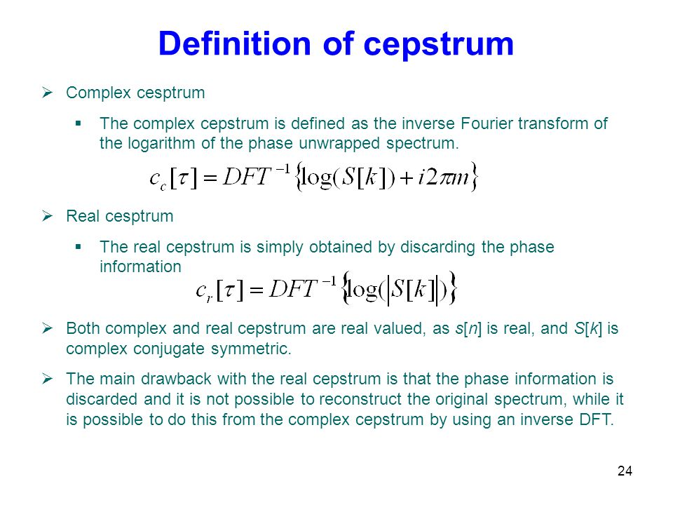 Definition of cepstrum
