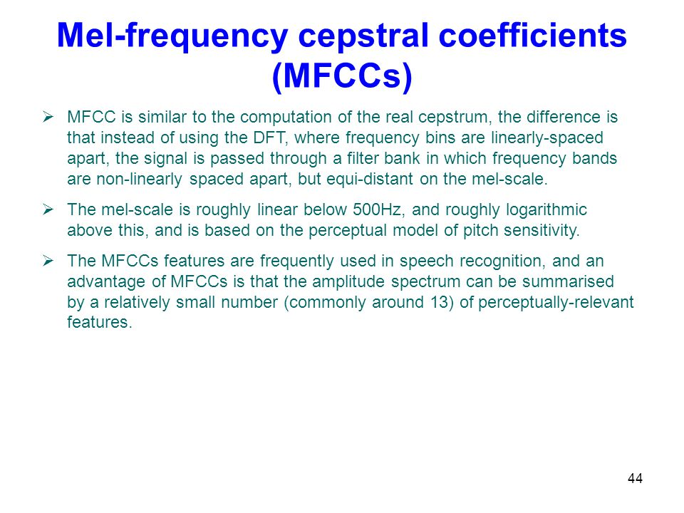 Mel-frequency cepstral coefficients (MFCCs)