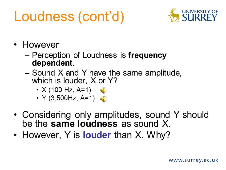 Loudness (cont'd) However