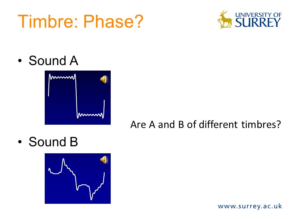 Timbre: Phase Sound A Sound B Are A and B of different timbres