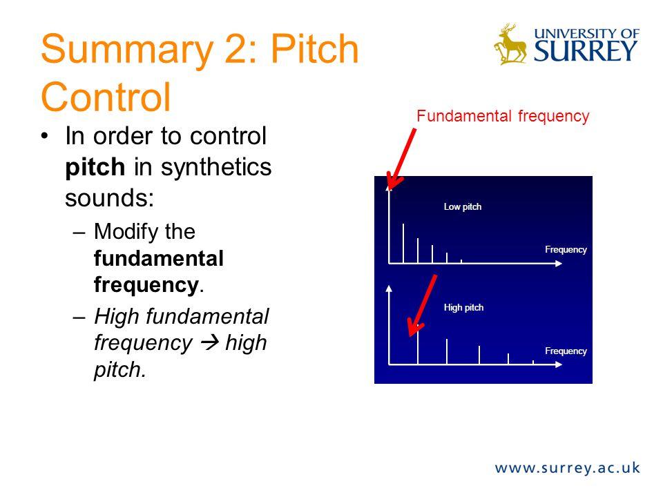Summary 2: Pitch Control