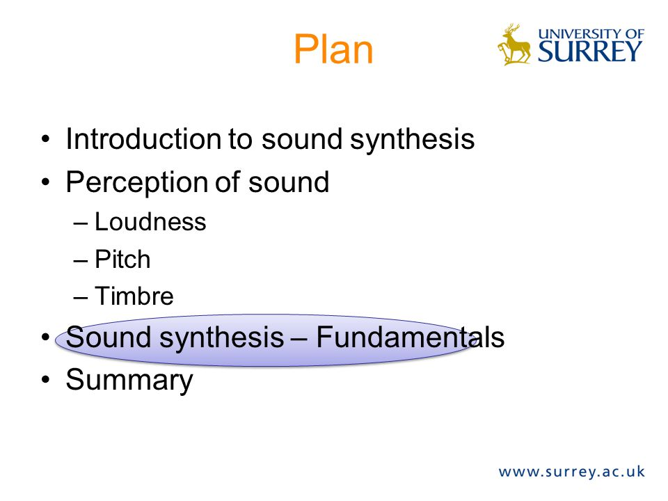 Plan Introduction to sound synthesis Perception of sound