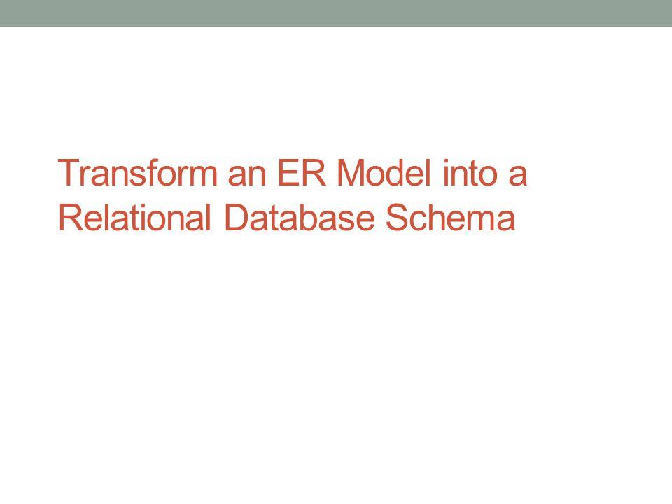 Transform an ER Model into a Relational Database Schema