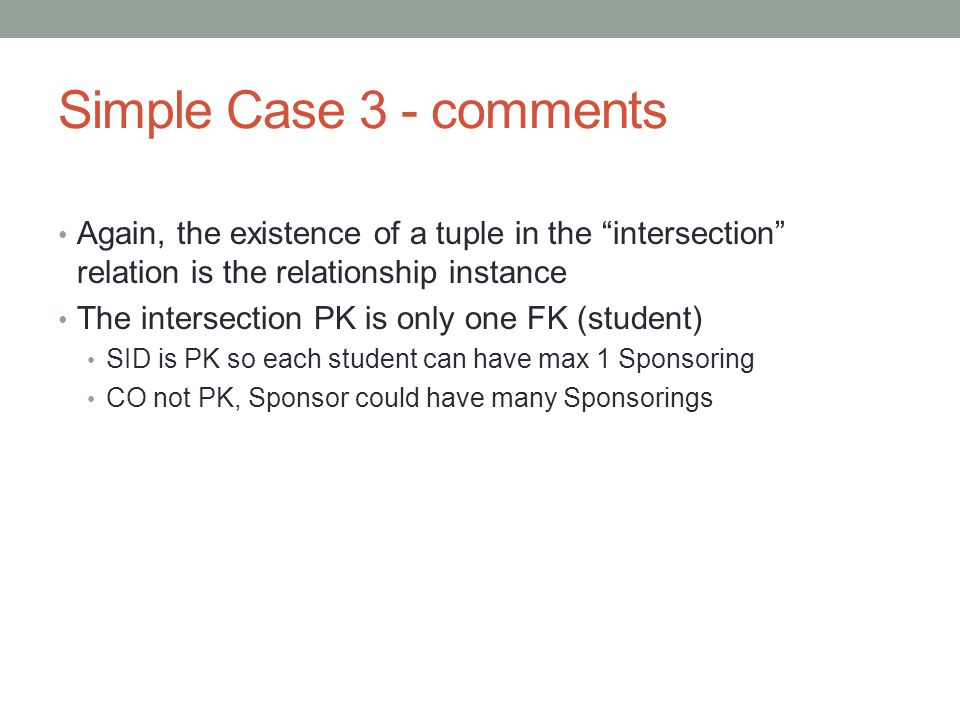 Simple Case 3 - comments Again, the existence of a tuple in the intersection relation is the relationship instance.