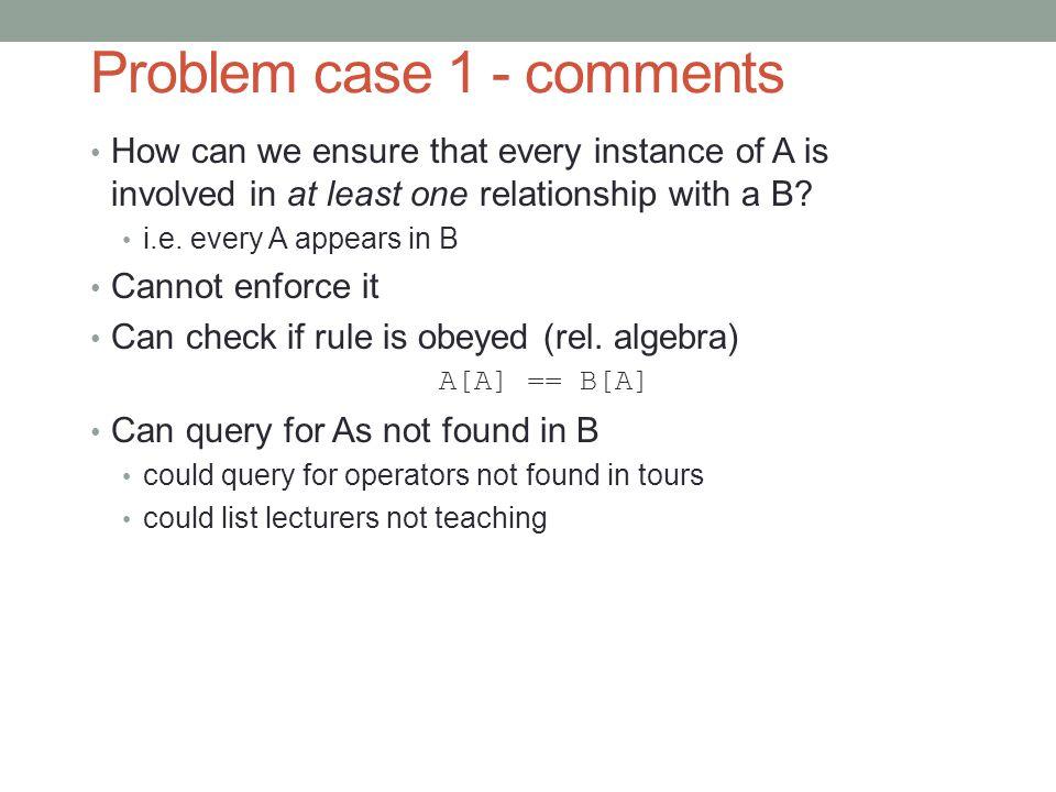 Problem case 1 - comments
