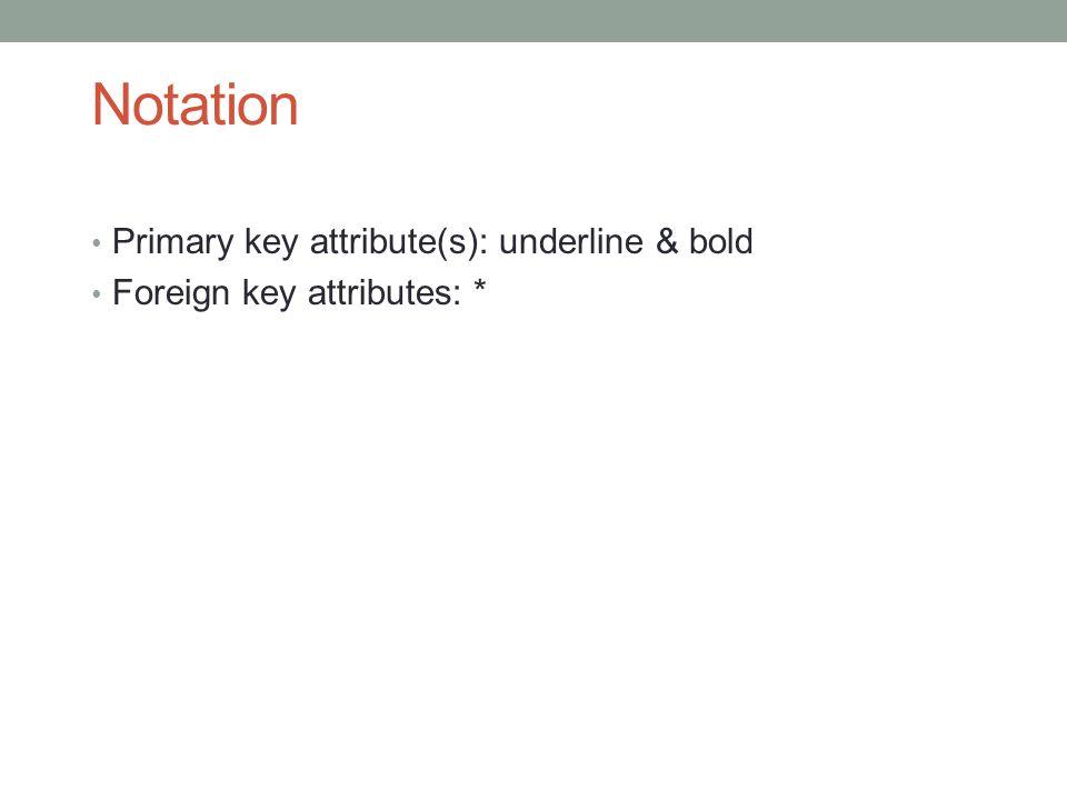 Notation Primary key attribute(s): underline & bold