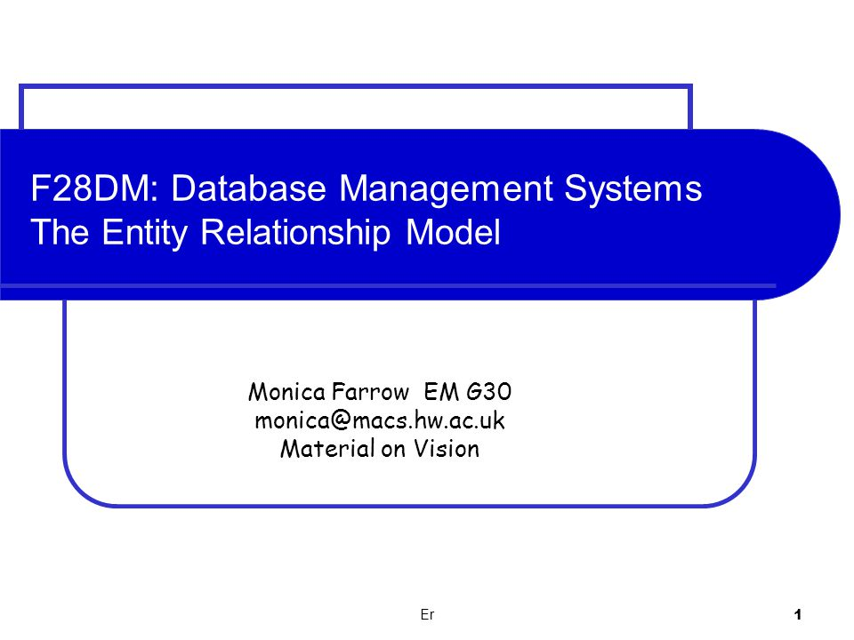 F28DM: Database Management Systems The Entity Relationship Model