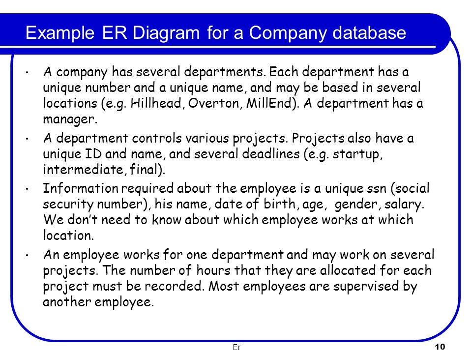 Example ER Diagram for a Company database