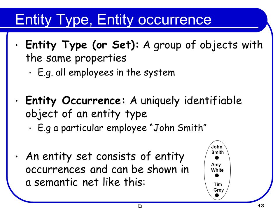 Entity Type, Entity occurrence