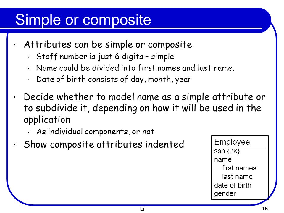 Simple or composite Attributes can be simple or composite