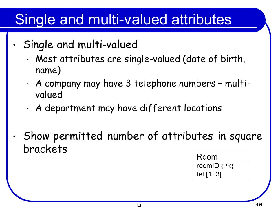 Single and multi-valued attributes