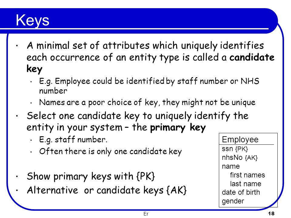Keys A minimal set of attributes which uniquely identifies each occurrence of an entity type is called a candidate key.