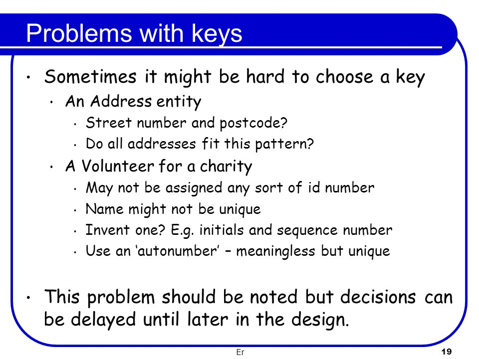 Problems with keys Sometimes it might be hard to choose a key