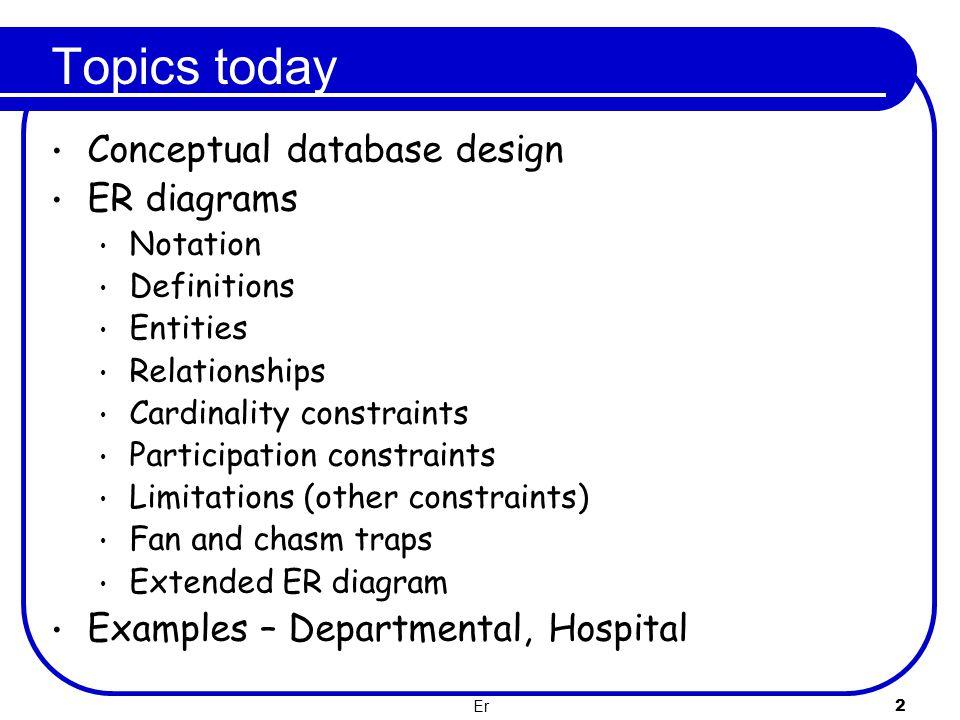 Topics today Conceptual database design ER diagrams