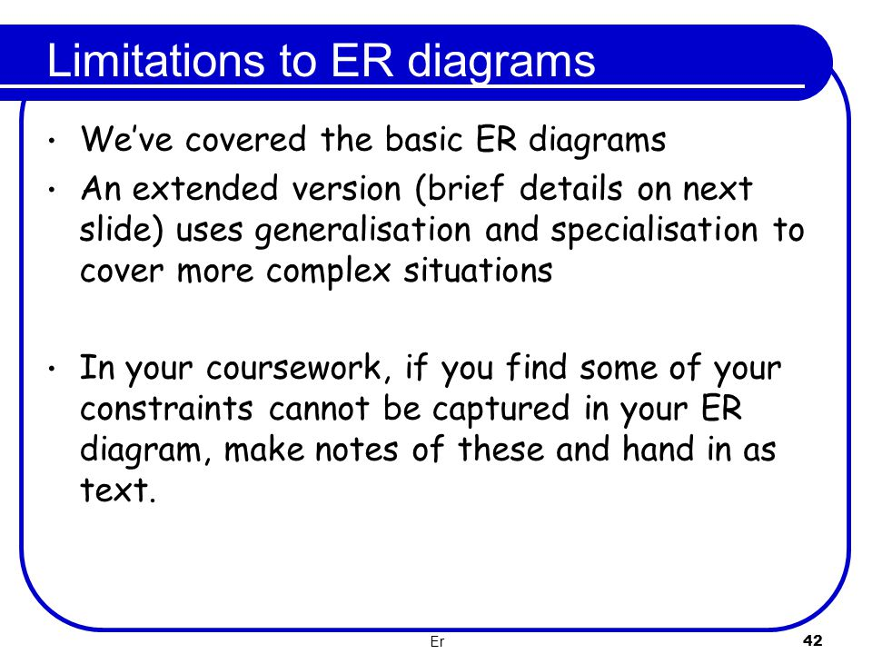 Limitations to ER diagrams