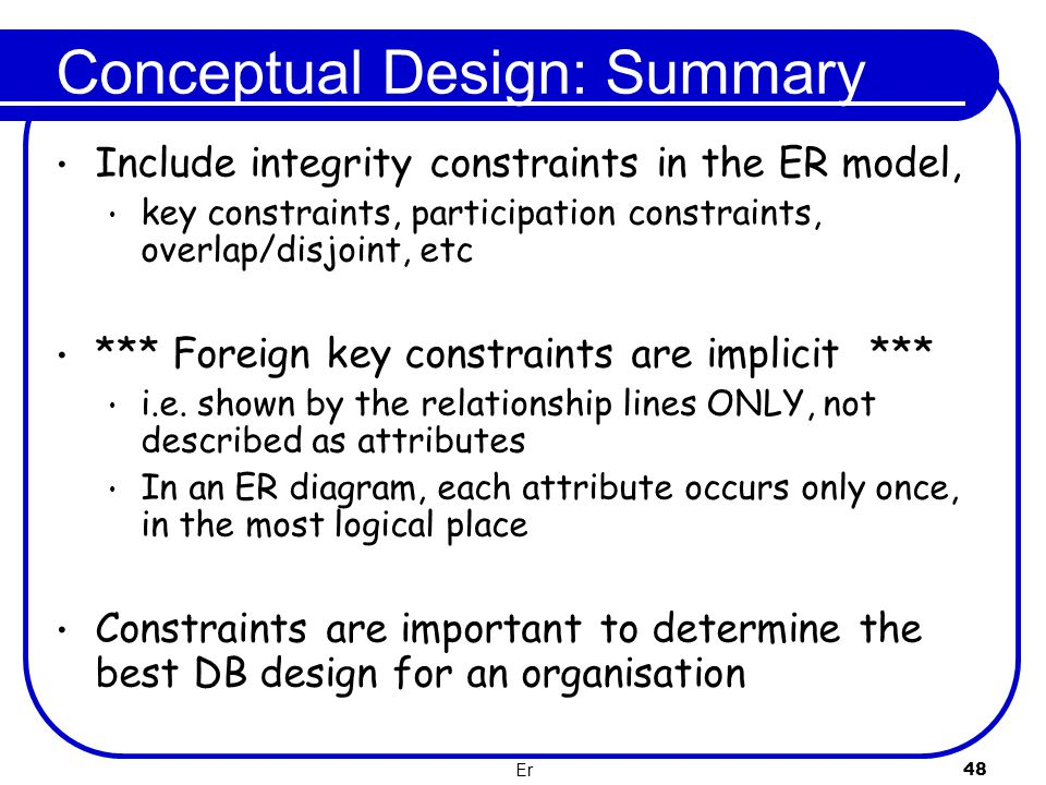 F28dm database management systems the entity relationship model 48 conceptual design summary include integrity constraints in the er model key ccuart