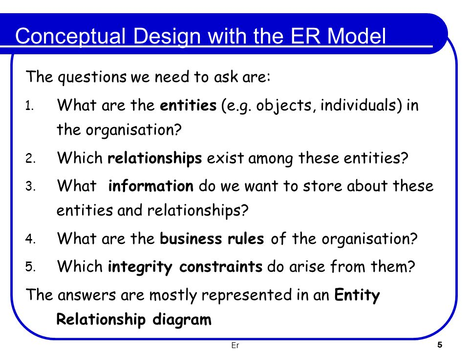 Conceptual Design with the ER Model