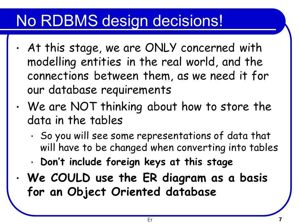 No RDBMS design decisions!