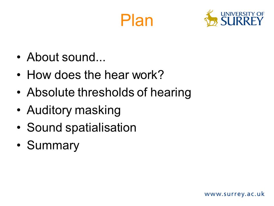 Plan About sound... How does the hear work