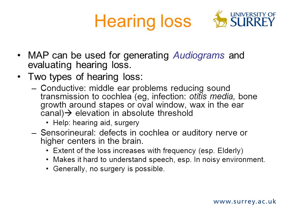 Hearing loss MAP can be used for generating Audiograms and evaluating hearing loss. Two types of hearing loss: