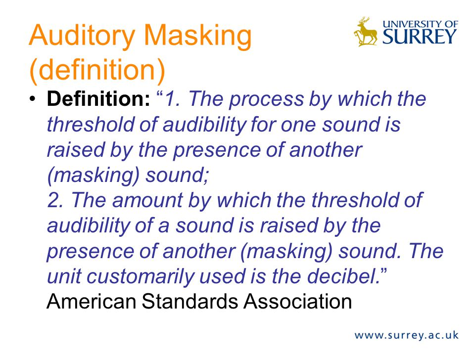 Auditory Masking (definition)