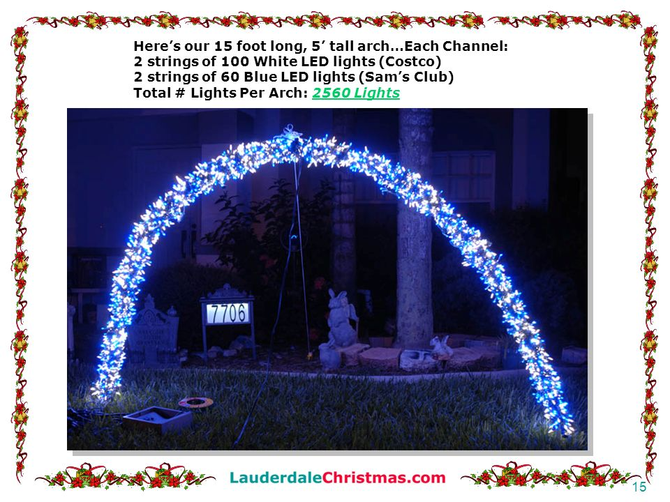 Here's our 15 foot long, 5' tall arch…Each Channel: