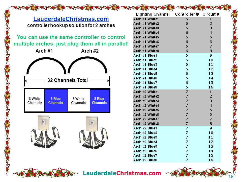 LauderdaleChristmas.com controller hookup solution for 2 arches