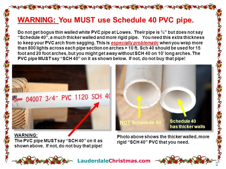 WARNING: You MUST use Schedule 40 PVC pipe.