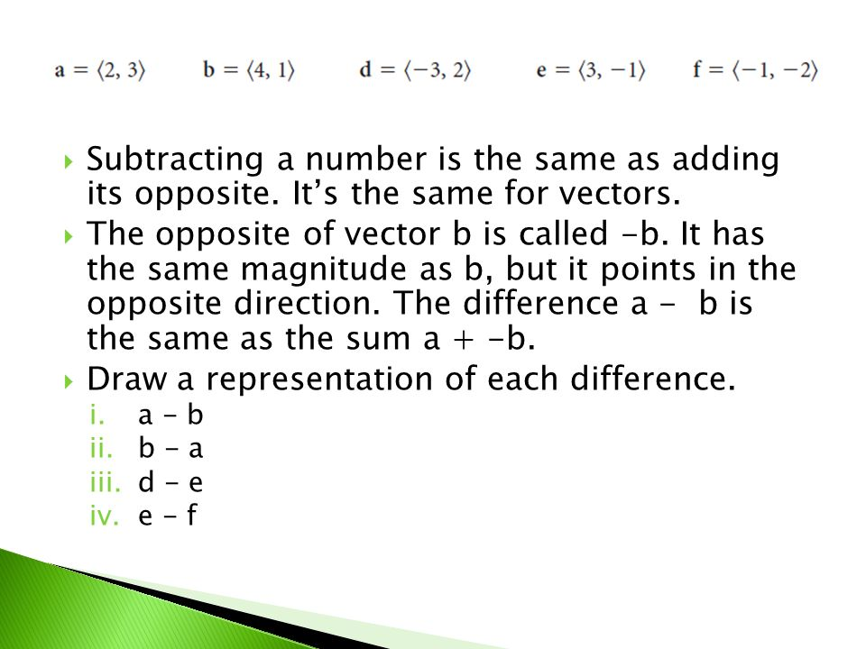 Draw a representation of each difference.