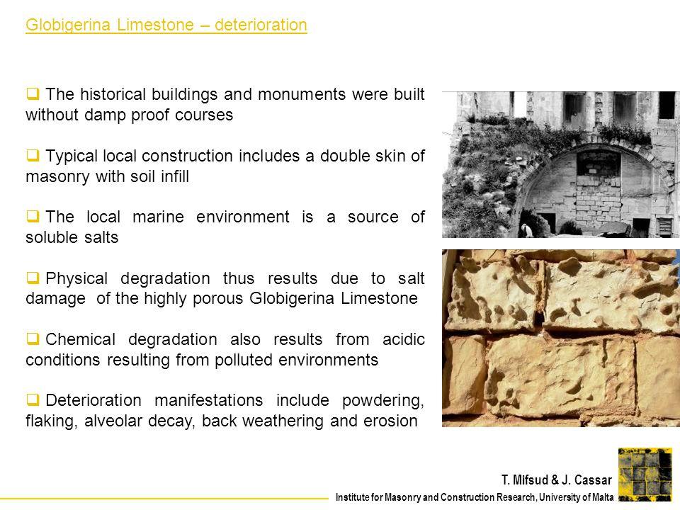 Globigerina Limestone – deterioration