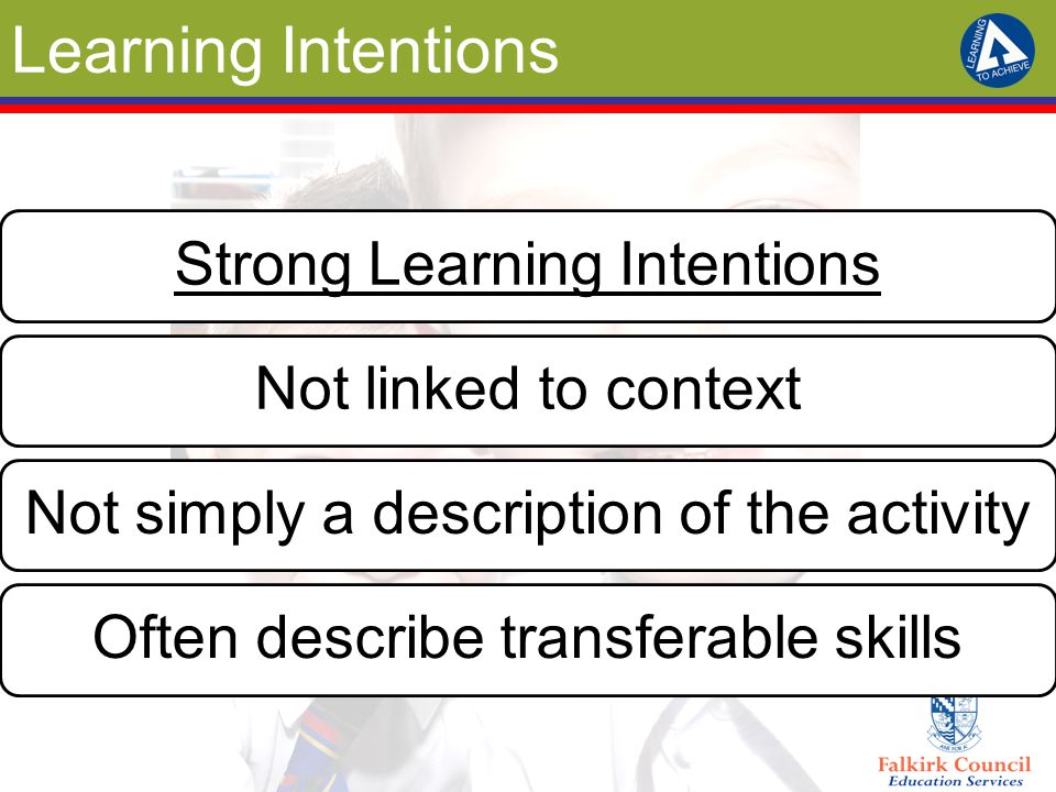 Learning Intentions Strong Learning Intentions Not linked to context
