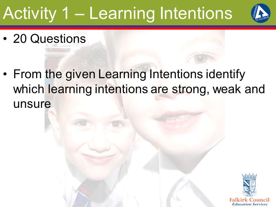 Activity 1 – Learning Intentions