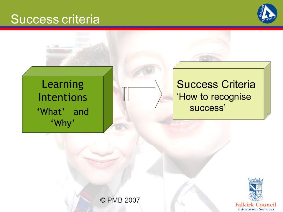 Success criteria Success Criteria Learning Intentions