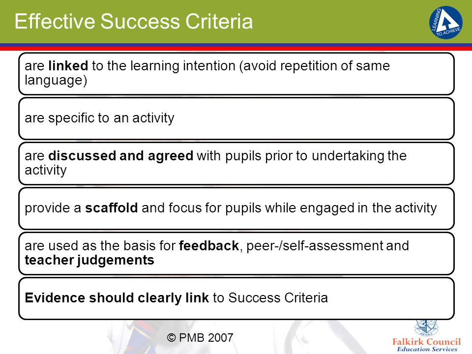 Effective Success Criteria