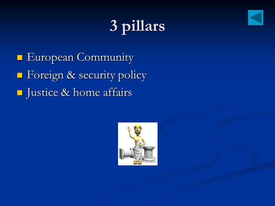 3 pillars European Community Foreign & security policy