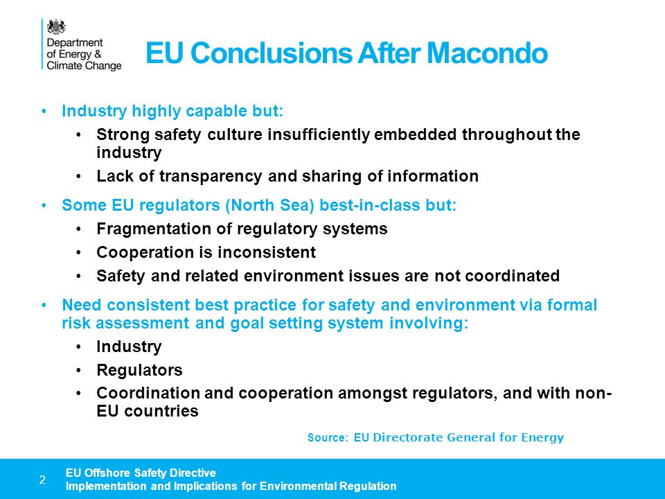 EU Conclusions After Macondo