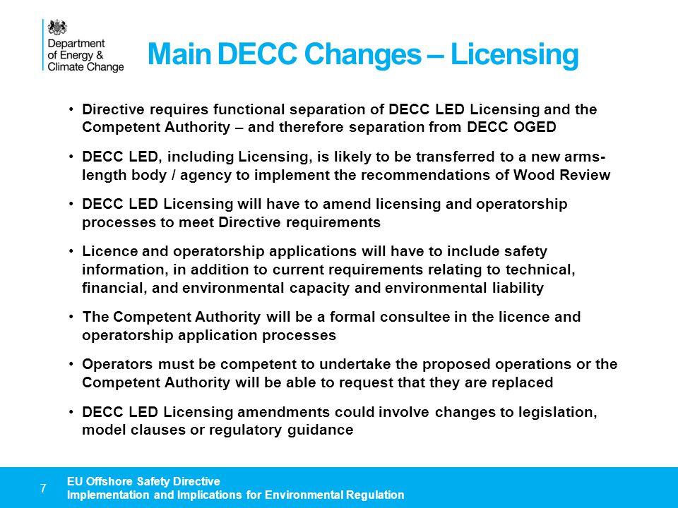 Main DECC Changes – Licensing