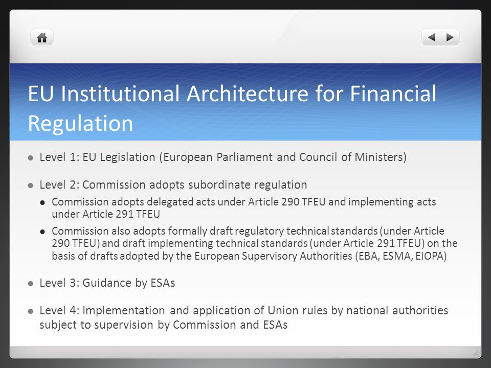 EU Institutional Architecture for Financial Regulation
