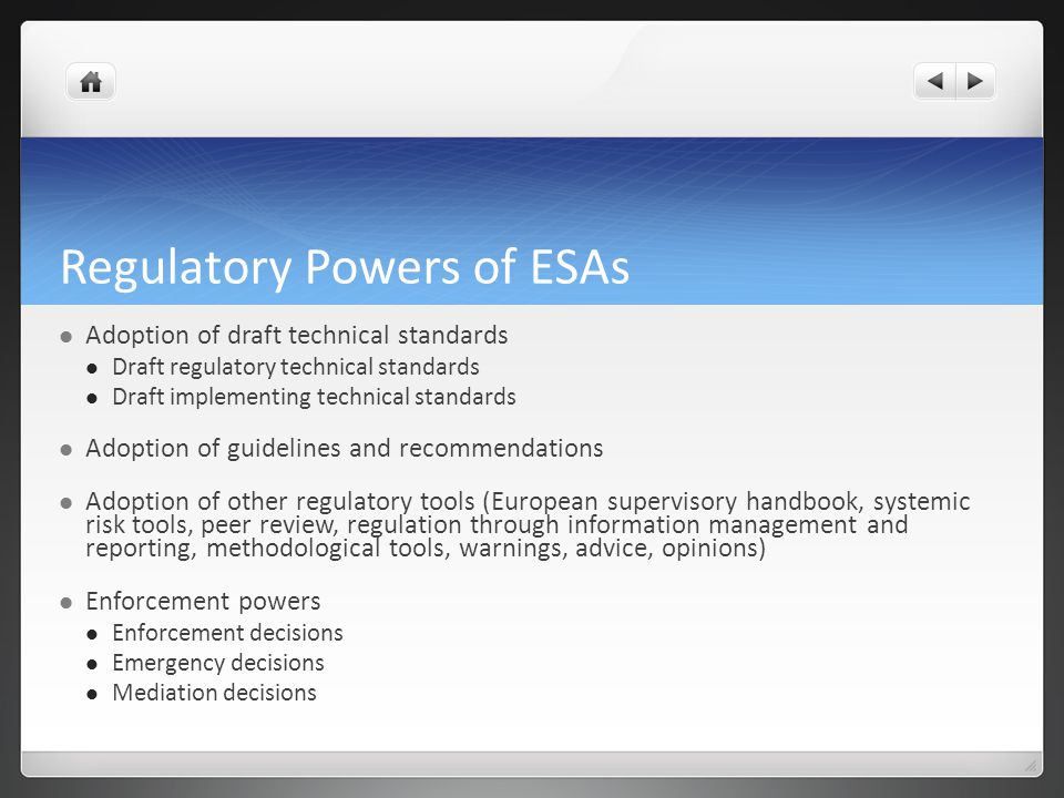 Regulatory Powers of ESAs