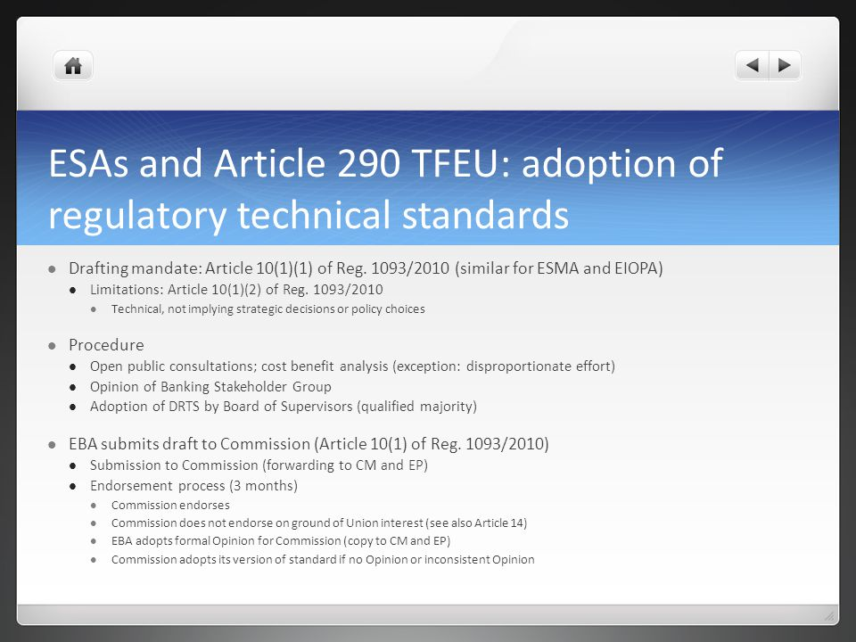 ESAs and Article 290 TFEU: adoption of regulatory technical standards
