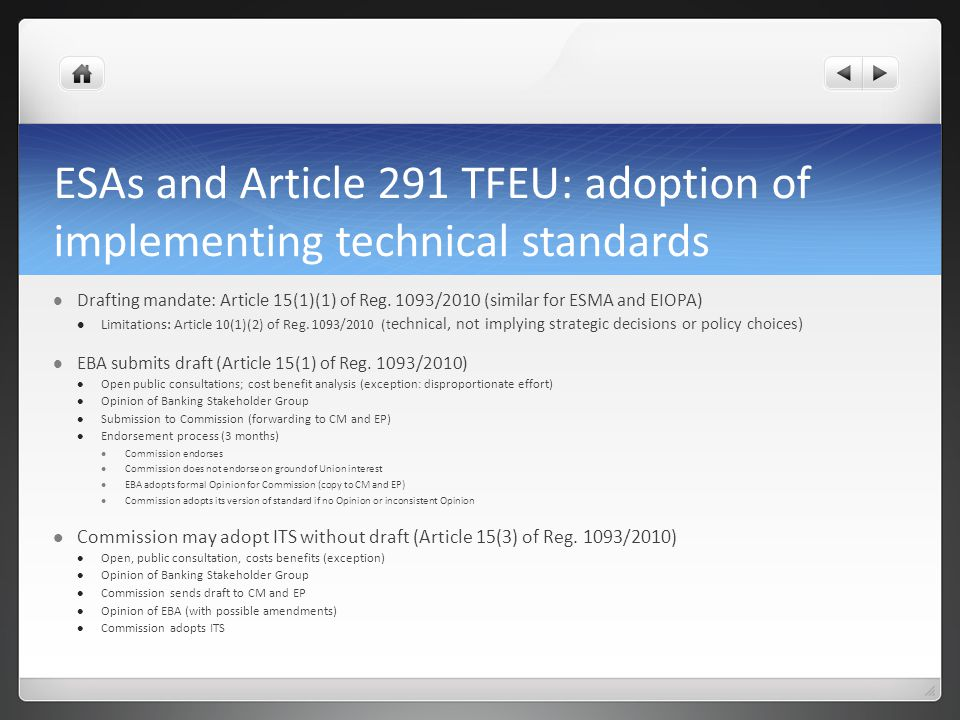 ESAs and Article 291 TFEU: adoption of implementing technical standards
