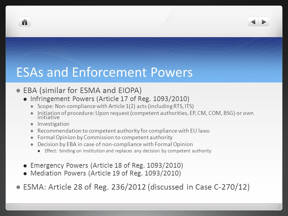 ESAs and Enforcement Powers
