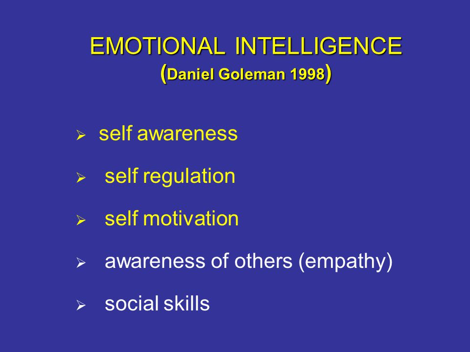 EMOTIONAL INTELLIGENCE (Daniel Goleman 1998)