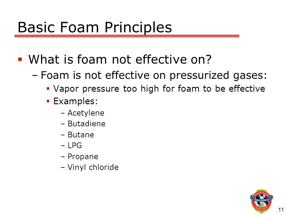 Basic Foam Principles What is foam not effective on